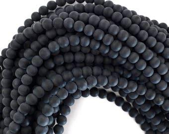 "6mm matte black onyx round beads 15"" strand 39197"
