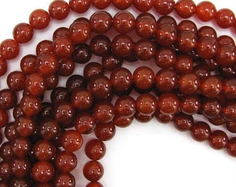 "10mm red carnelian round beads 15"" strand 12822"