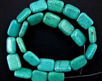 "18mm green turquoise rectangle beads 16"" strand 2522"