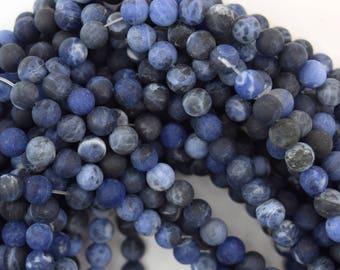"6mm matte blue sodalite round beads 15.5"" strand 38051"