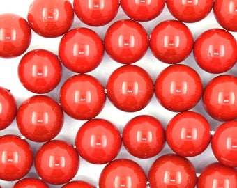 """10mm red shell pearl round beads 16"""" strand 37117"""