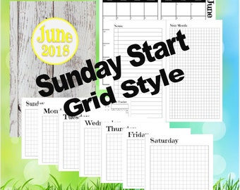 Cahier - June, Dutch Door Travelers Notebook Printable Inserts, day on 1 page, Sunday Start, Grid Style