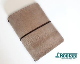 A6 Traveler's notebook beige leather - midori like- fauxdori