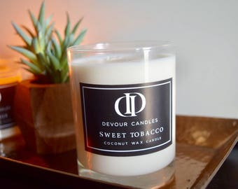 Sweet Tobacco 11 oz Coconut wax candle -Double wick candle