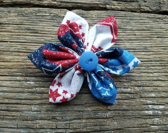 Glitter patriotic, flower dog collar flower accessory small