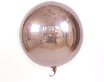 Orb Foil Sphere Balloon, Shiny Round Rose Gold, Silver, Gold, Black, Fuchsia, Blue, Purple, Unique Metallic Circle Balloon, Baby Shower