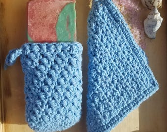 Spa set, Soap saver, crochet washcloth, wash cloth set, cotton wash cloth, soap sock, soap on a rope, bath set, shower set