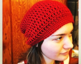 Crocheted Barn Red Caron Slouchy Hat