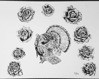 pen drawing, turkey and roses