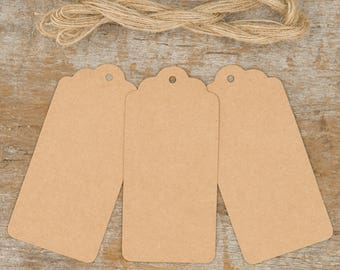 Set of 50 Kraft Tags and Twine, Scalloped Tags, Craft tags, Kraft Brown Tags