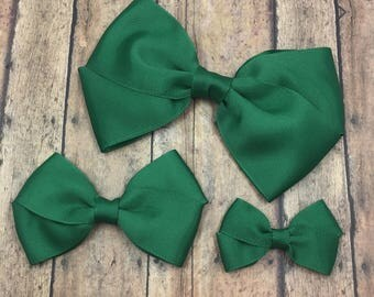 Forest Green Hair Bow on Metal Clip, Elastic Headband or Hair Tie, Buy 3 Get 1 Free! Large Green Hair Bow, Small Green Hair Bow, Green Bow