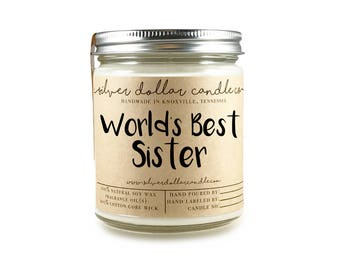 World's Best Sister Candle 8oz | Gift for her, Gift for Sister, Birthday, Sister Gift, Sibling Gift, Personalized candle, Sisters soy candle