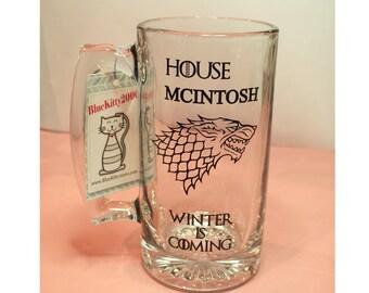 Game of thrones Beer Mug, Winter is Coming, Groomsmen Mug, Game Of Thrones Gift, Game Of Thrones Mug,  Dire Wolf Beer Mug Jon Snow, GOT