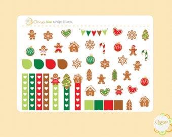 Gingerbread Weekly Kit Sampler Stickers, Gingerbread Cookie Stickers, Gingerbread House Stickers, Erin Condren Life Planner, Happy Planner