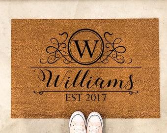 Door mat - Doormat - Personalized door Mat - welcome mat - Front Door mat - Monogram Door Mat - Custom door mat - 'Williams' Style