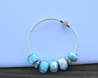 Blue European style bead bracelet