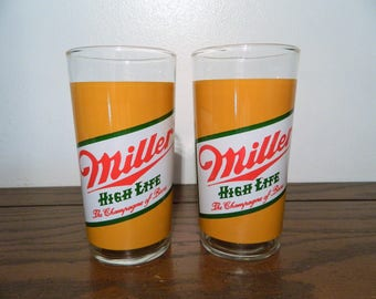 Vintage Pair Miller High Life Drinking Glasses