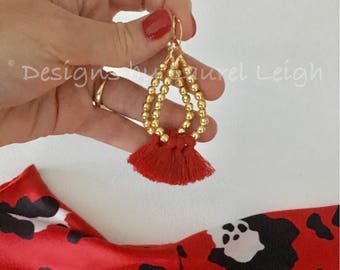 RED and GOLD Beaded Tassel Earrings | oval, hoops, lightweight, statement earrings, designsbylaurelleigh, Designs by, Laurel Leigh