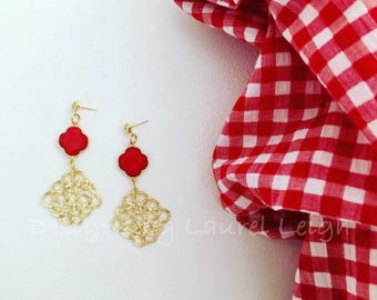 RED and GOLD Knot Earrings | lightweight, Designs by, Laurel Leigh, post earrings, statement earrings, clover, quatrefoil