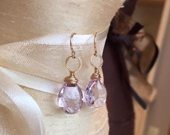 Pink Amethyst 14k gold-fill earrings