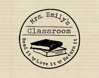 Personalized Self Inking or Mounted Handle Custom Name Crafted From the Classroom of  - Teacher's Classroom - B33