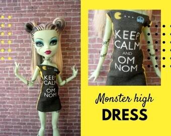 Monster High doll printed dress. Monster doll clothing