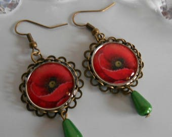 "Bronze stamped earrings ""Poppies"""