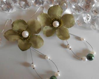 Earrings long bridal green beaded flower