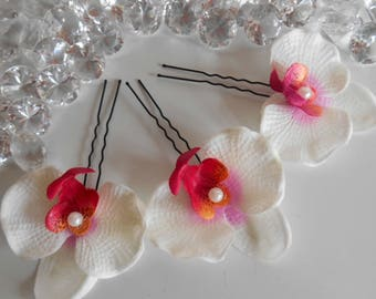 Set of 3 fuchsia and white Orchid wedding hair pins