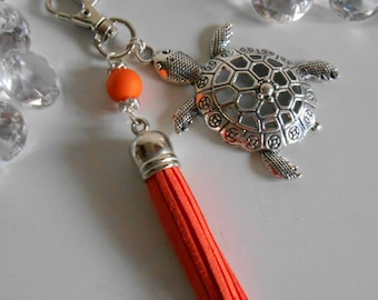 "Bag charm / key ""Turtle Island"" orange pendant"