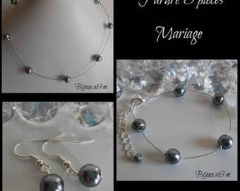 Set of 3 wedding pieces simplicity beads anthracite grey