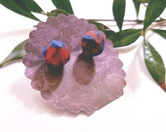 Blue and red geometric studs