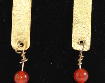 Etched brass dangling earrings with two beads (061617-015)