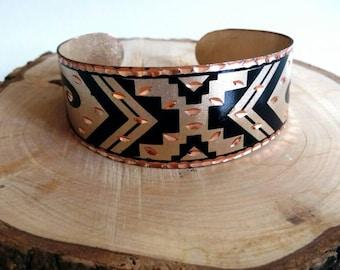 Cupper cuff bracelet Boho cuff jewelry black jewelry