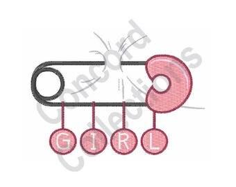 Girl Diaper Pin - Machine Embroidery Design, Diaper Pin - Machine Embroidery Design, Baby - Machine Embroidery Design