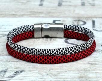 Weave bracelet, womens rope bracelet, woven women bracelet, red women bracelet, red mens bracelet, red braided bracelet, gray red bracelet