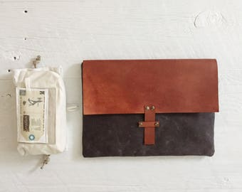 "13"" MacBook Case, Vegetable Tanned Leather, Veg Tan Leather, Waxed Canvas, Laptop Case, Unisex"