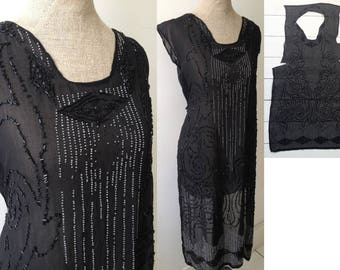 Vintage 1920s beaded flapper dress Art Deco Gatsby Evening gown Sewing project SOLD AS IS