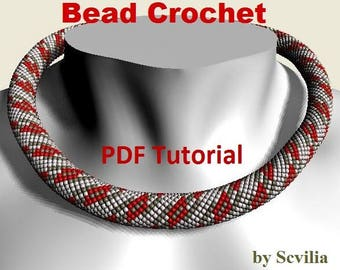 Bead crochet rope pattern for beading necklace «Chain links» Instant Download