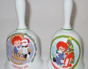 Avon Ragedy Ann Bells, Collectible Ragedy Ann Bells, Bobb's Merrill Ragedy Ann Bells, Ragedy Ann Porcelain Bells