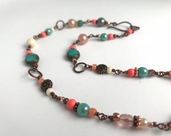 Coral and turquoise bead and wire wrapped necklace