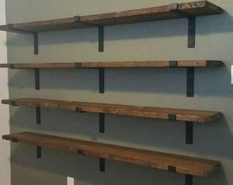 "Set of 2, Metal Shelf Brackets, Heavy Duty Shelf Bracket, 2"" wide, Modern Shelf Bracket, Industrial Shelf Bracket, Made in the USA!"