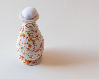 Mini Orange and Green Ceramic Vase Pin Cushion, Pincushion, Unique
