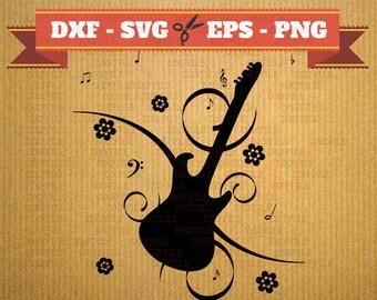 Guitar SVG Flower vector files for cricut, Guitar cutting files, clipart music, DXF files guitar, silhouette instrument, svg guitar