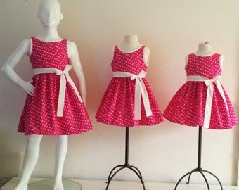 Pink dress girl dress kids Pink White Bunny dress 2/4/6 years