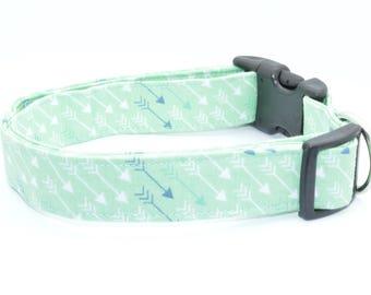 Teal Green Arrows Print Pet Dog Collar Adjustable