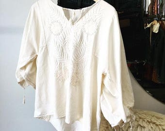 Sold in store. Do not buy. Vintage Seventies 1970s Raw Cotton Hand Made Peasant Blouse Size Medium