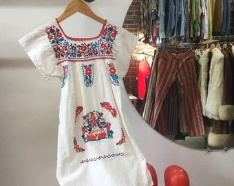 Vintage Seventies 1970s Cotton Embroidered Peasant Dress Size Extra Small Petite