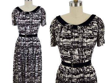 60s Black and White Dress-1960s Midi Dress-60's Career Wear-Velvet Trim-Jersey-Abstract Print-Short Sleeved-Full Skirt-Bow Accent-S-Small