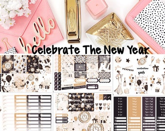 Celebrate The New Year, 6 sheet weekly kit//EC//Hp classic, large, mini//Planner Sticker Kit